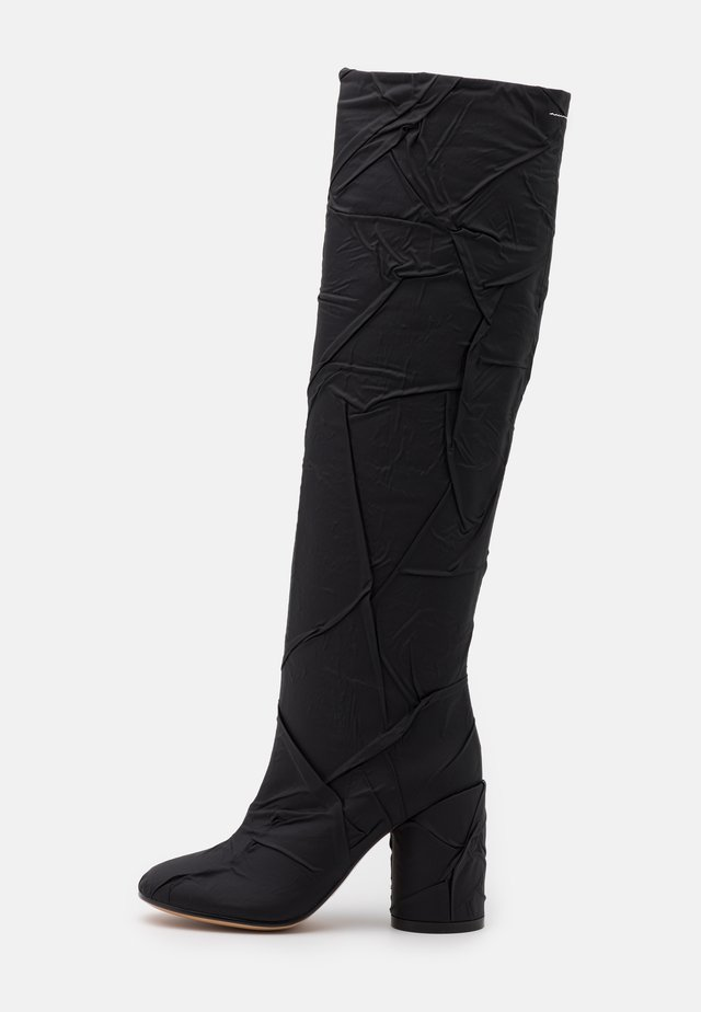 CRUSHED STIVALE TUBO STROPICCIATO - Over-the-knee boots - black