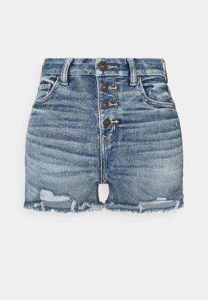 CURVY HI RISE SHORTIE - Denim shorts - medium tinted indigo