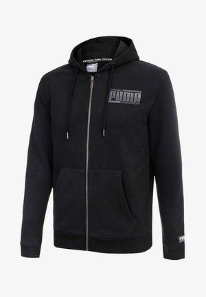 Zip-up hoodie - cotton black solid
