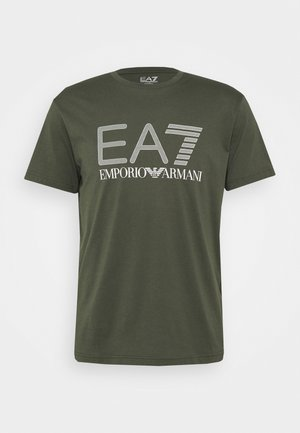 Print T-shirt - dark green/white