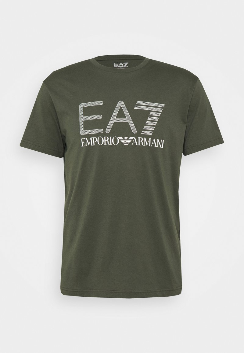 EA7 Emporio Armani - Print T-shirt - dark green/white