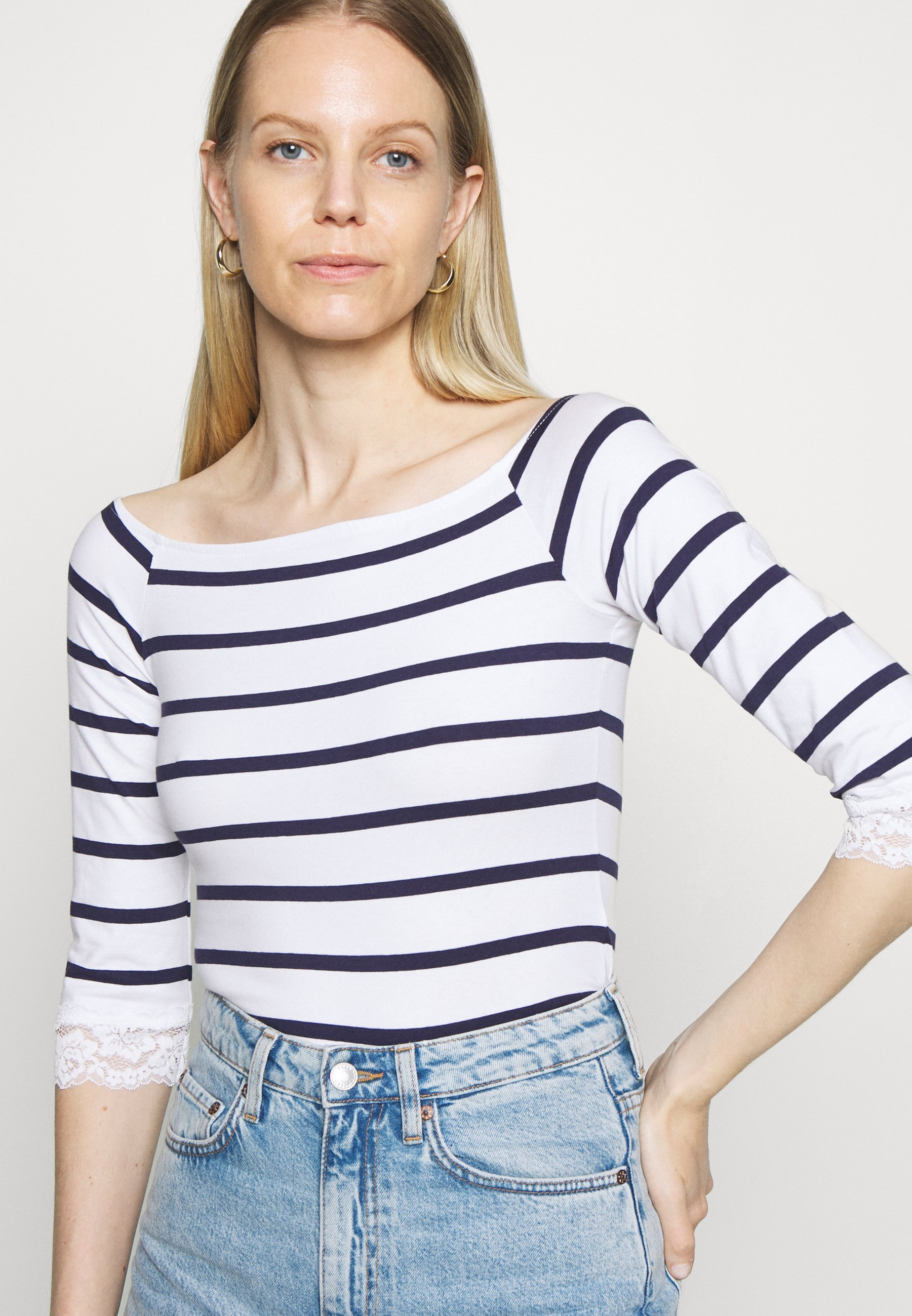 Anna Field Langærmede T-shirts - white/dark blue - Damer T-shirts & toppe TALcb