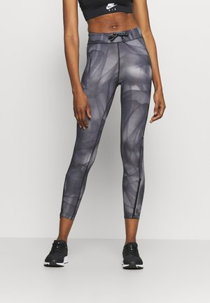 RUN 7/8 - Leggings - black/silver