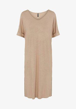 PCNEORA FOLD UP DRESS - Jersey dress - warm taupe