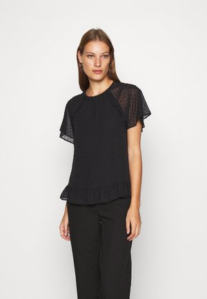 DOBBY RUFFLE - Blouse - black