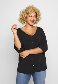 Dorothy Perkins Curve - BUTTON THROUGH ITY - Long sleeved top - black - 0