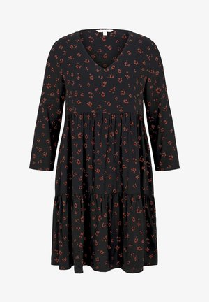 Day dress - black rust flower print