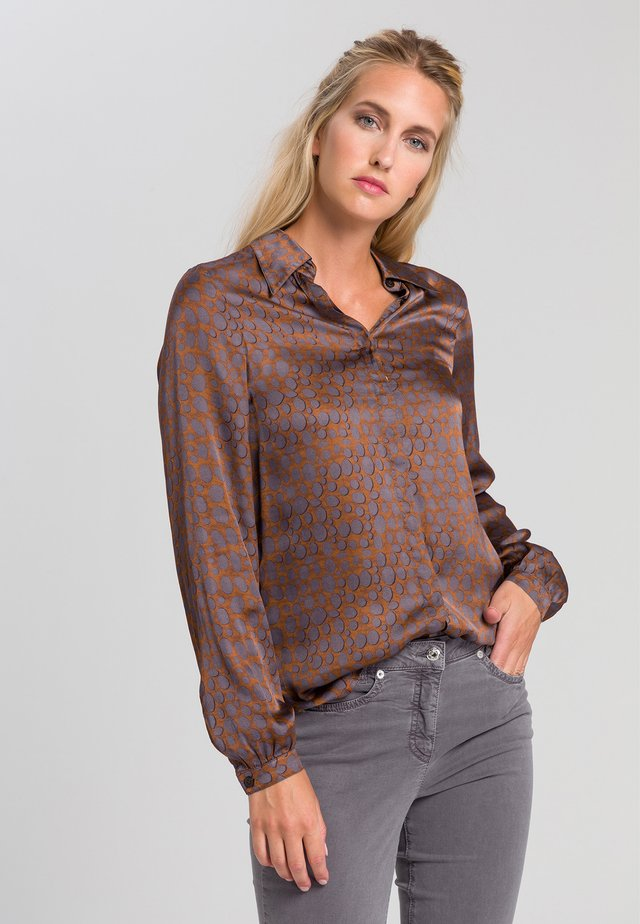 Button-down blouse - cognac grey varied