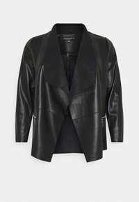 Dorothy Perkins Curve - WATERFALL JACKET - Faux leather jacket - black - 4