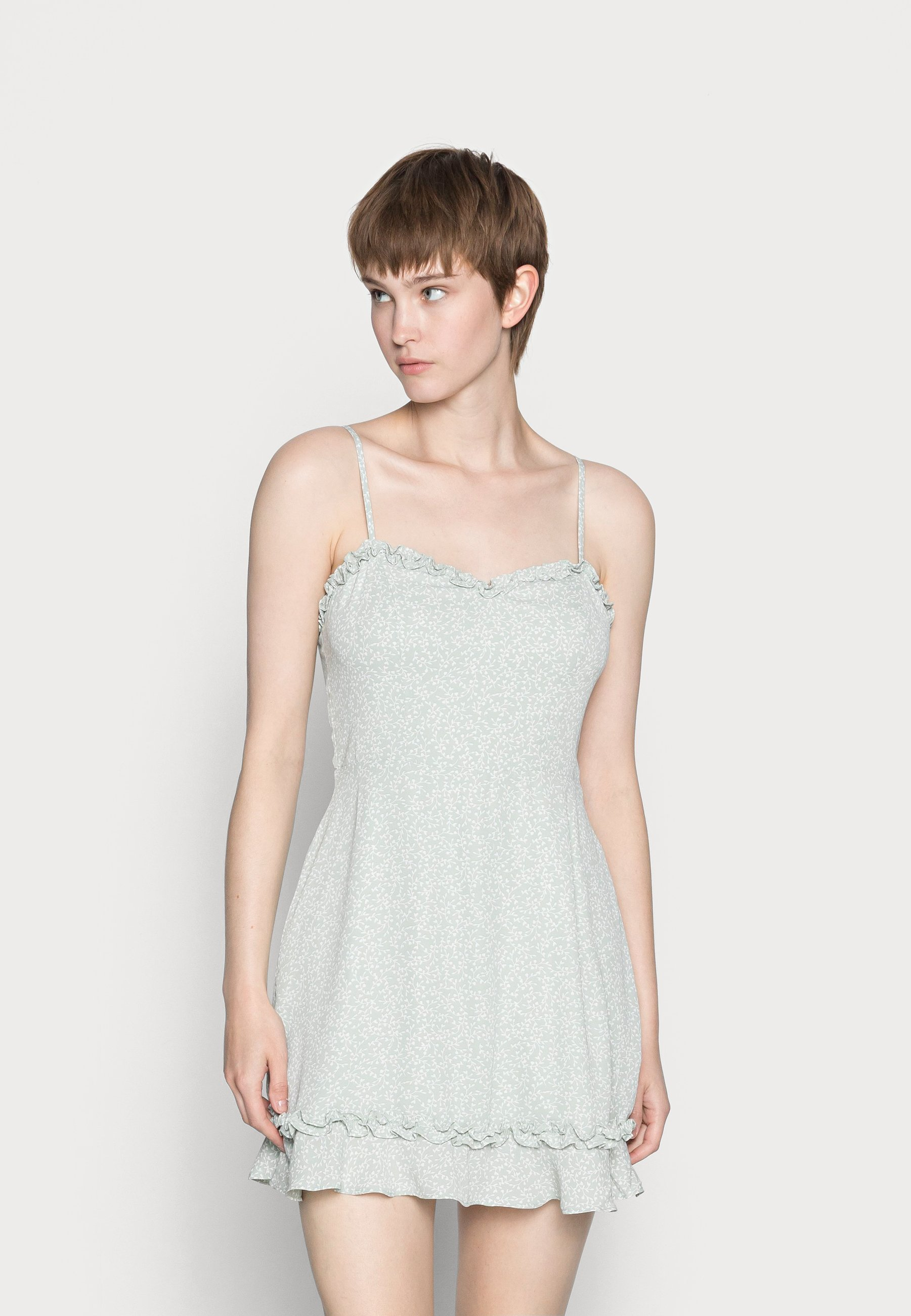 Women RECYCLED RUFFLE NECKLINE THIN STRAP DRESS - Day dress