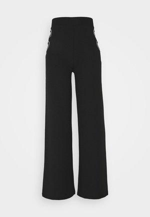 CUT OUT PANTS - Kalhoty - black