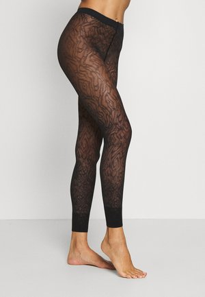 FALKE ZEBRA 20 DENIER  LEGGINGS TRANSPARENT FEIN BRAUN - Leggings - black