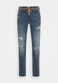 TOM TAILOR DENIM - PIERS DESTROYED - Slim fit jeans - mid stone wash - 4