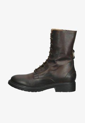 Šněrovací vysoké boty - dark brown