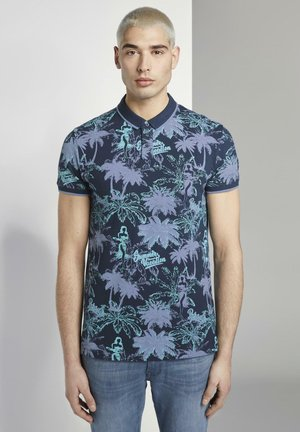 WITH ALLOVERPRINT - Polo shirt - blue navy  hula print