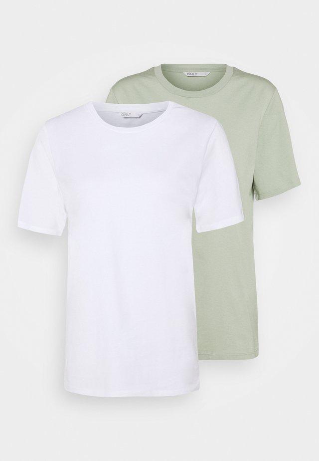 ONLONLY LIFE 2 PACK - Basic T-shirt - white/white / desert sage