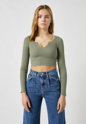 Long sleeved top - mottled dark green