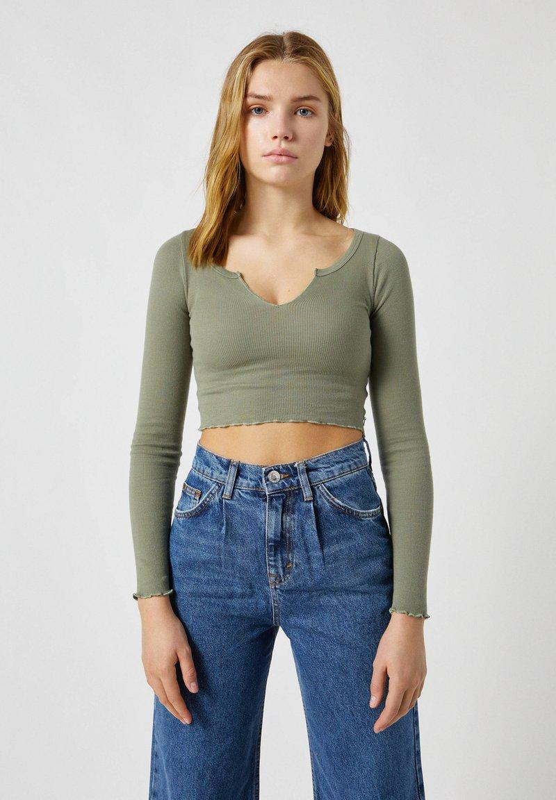 PULL&BEAR - Long sleeved top - mottled dark green