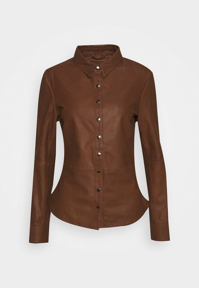 BUTTONS - Button-down blouse - tobacco