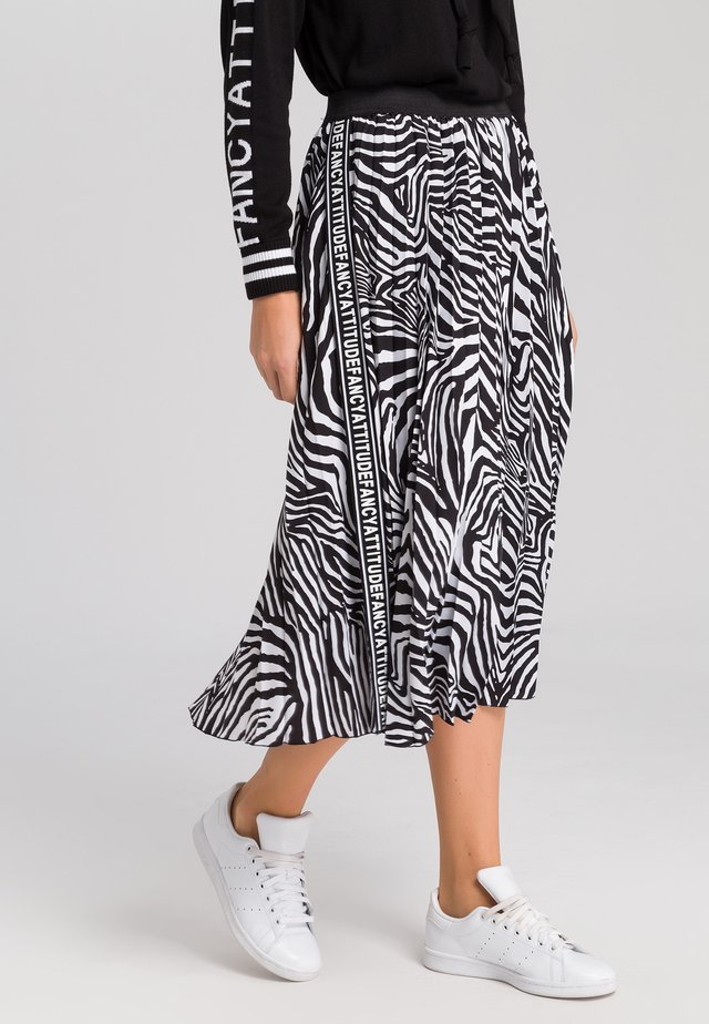 MARC AUREL PLISSEEROCK MIT ZEBRA-PRINT - A-line skirt - black varied