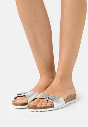 ONLMADISON LEATHER SLIP  - Slippers - silver