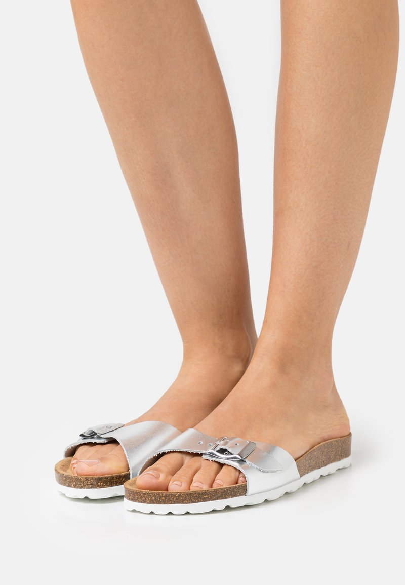 ONLY SHOES - ONLMADISON LEATHER SLIP  - Slippers - silver