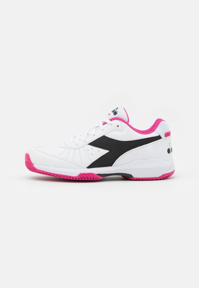 S. CHALLENGE 3 CLAY - Clay court tennis shoes - white/black/magenta