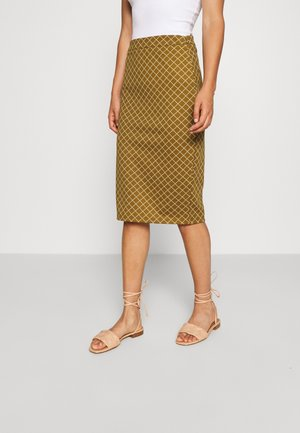 IHKATE GRID - Pencil skirt - khaki/white