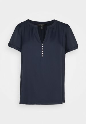 WOVEN FRONT - Basic T-shirt - navy