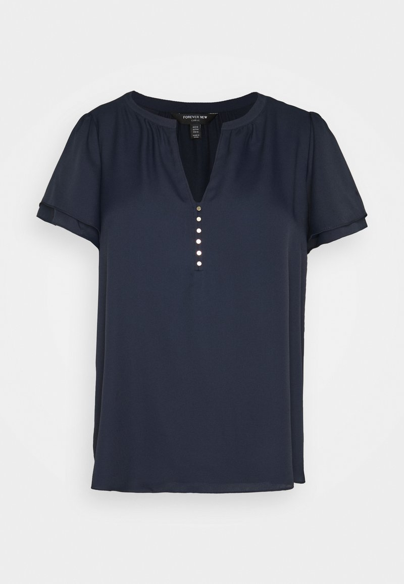 Forever New Curve - WOVEN FRONT - Basic T-shirt - navy