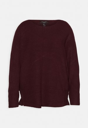 EXPOSED SEAM CASH BAWTING - Jumper - dark burgundy