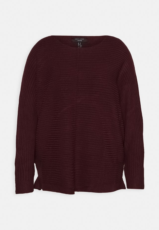 EXPOSED SEAM CASH BAWTING - Trui - dark burgundy
