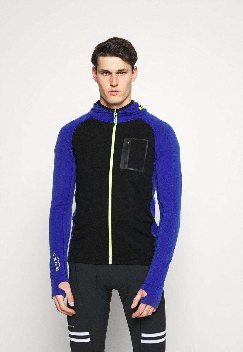 Mons Royale - TRAVERSE FULL ZIP HOOD - Training jacket - ultra blue/black