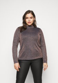 CAPSULE by Simply Be - CYBER FUNNEL NECK JUMPER - Svetr - navy/copper - 0