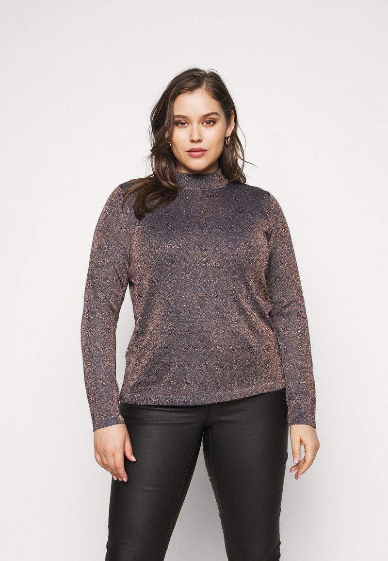 CAPSULE by Simply Be - CYBER FUNNEL NECK JUMPER - Jumper - navy/copper