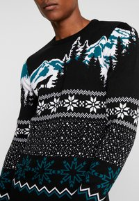 New Look - WOLF FAIRISLE CREW - Svetr - black - 4