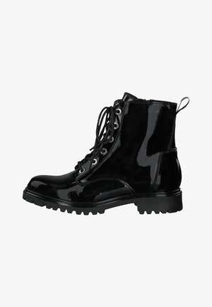 Šněrovací kotníkové boty - black patent