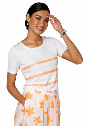 Print T-shirt - weiß neonorange