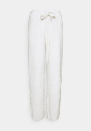 RECYCLED WIDE LEG TROUSER - Spodnie materiałowe - white