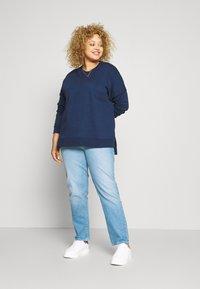 Zign - Slit Sides Oversized Sweatshirt - Sweatshirt - dark blue - 1