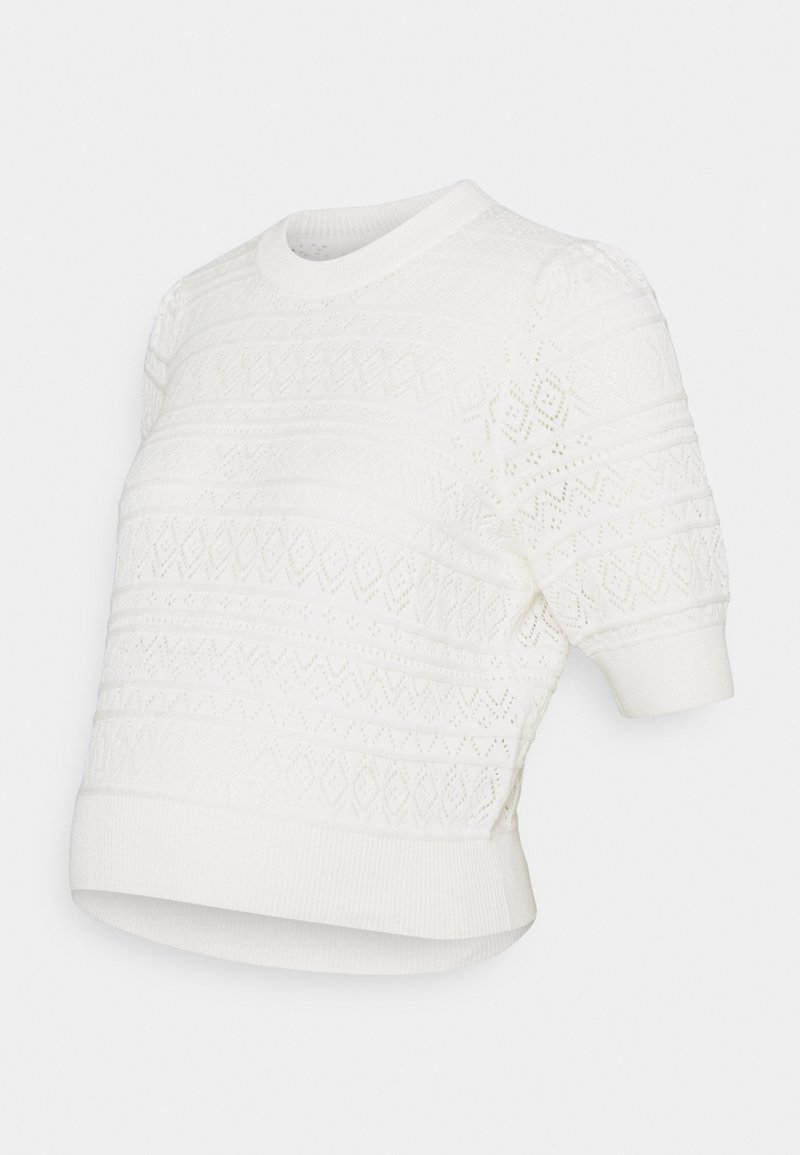Pieces Maternity - PCMLEYA O-NECK - T-shirts med print - cloud dancer