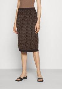 MICHAEL Michael Kors - BOLD  LOGO SKIRT - Pencil skirt - chocolate - 0
