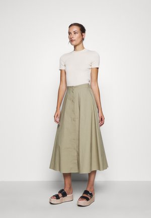 BARBARA LONG SKIRT - Áčková sukně - olive grey