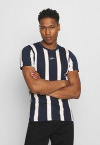 Hollister Co. - CREW STRIPES - T-shirt med print - navy vertical - 0