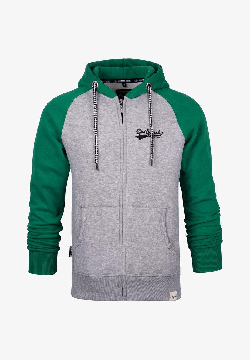 Spitzbub - SPITZBUB HOODED ZIP OLIVER - Zip-up hoodie - grau/grün