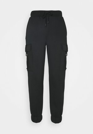 HIGH WAIST CARGO JOGGERS - Cargo trousers - deep black