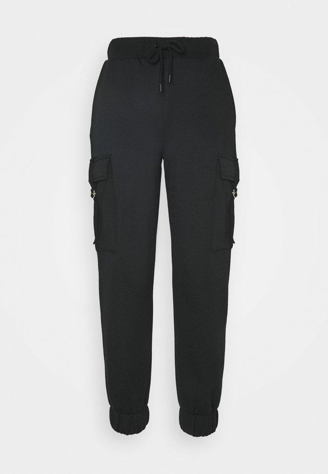 HIGH WAIST CARGO JOGGERS - Cargo trousers - deep black