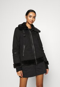 ONLY - ONLJANICE BONDED AVIATOR  - Faux leather jacket - black - 0
