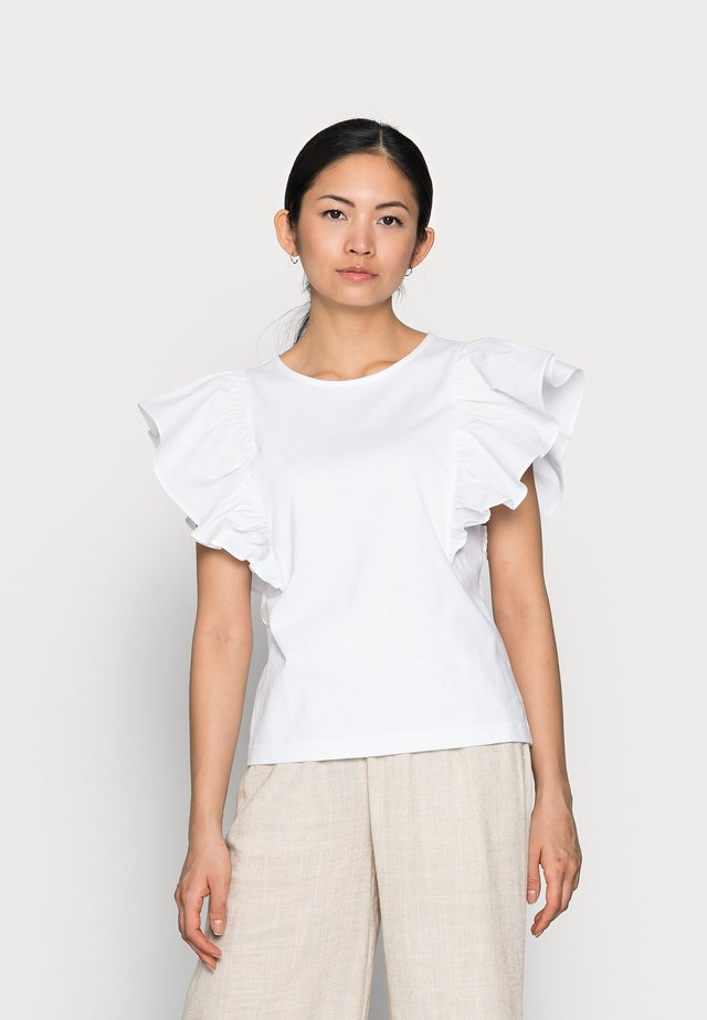 OBJELLA TOP - Printtipaita - bright white