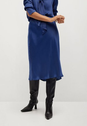 SATIN-A - A-line skirt - marineblå